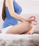 Young Woman Doing Yoga Meditating Relaxing Exercise Stock Images