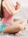 Young Woman Doing Yoga Meditating Relaxing Exercise Royalty Free Stock Images