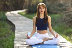 Young beautiful woman doing yoga in nature. Young woman doing yoga in nature. Female wearing sport clothes in lotus figure. Girl sitting on wooden road Royalty Free Stock Photography