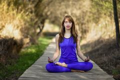 Young beautiful woman doing yoga in nature. Young woman doing yoga in nature. Female wearing sport clothes in lotus figure. Girl on wooden road Stock Images
