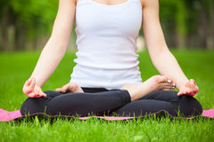 Young woman doing yoga in the park. Royalty Free Stock Photography