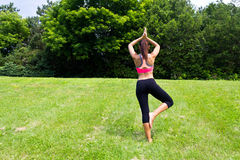 Young woman doing yoga in the park Royalty Free Stock Images