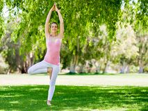 Young woman doing yoga in the park Stock Photos