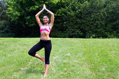 Young woman doing yoga in the park Royalty Free Stock Image