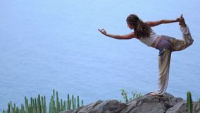 Young woman doing yoga on a rocky seashore at sunset. The concept of a healthy lifestyle. Harmony. Human and nature. The stock video footage