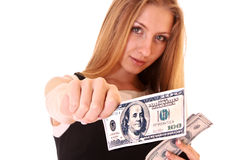 Young woman with dollar Royalty Free Stock Photo