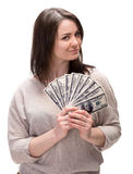 Young woman with dollar cash money Stock Photography