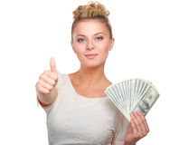 Young woman with dollar notes in her hand. Isolated on white background Stock Photo