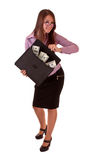Young woman with dollars in bag Royalty Free Stock Photography