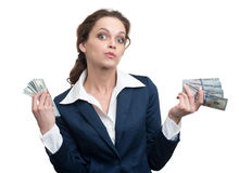 Young woman with dollars in her hands Royalty Free Stock Image