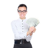 A young woman with dollars in her hands, isolated on white background.  Stock Image