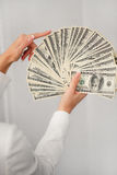 A young woman with dollars in her hands, isolated on white. Business woman holding a bunch of money and board stock image