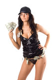 Young woman with dollars. Isolated Royalty Free Stock Photos