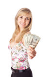 Young woman with dollars royalty free stock photo