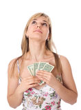 Young woman with dollars. Isolated Stock Photos