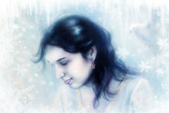 Young woman and a dove, in twinkling starlight immersed, frozen snowflake background. Stock Photos