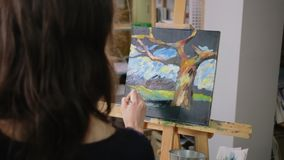 Woman is depicting landscape on canvas in art therapy class, view from back. Young woman is drawing in class of anti stress session. She is painting a nature and stock footage