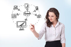 Young woman drawing a cloud computing on whiteboard Royalty Free Stock Photo