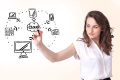 Young woman drawing a cloud computing on whiteboard Stock Photos