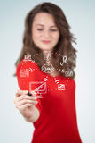 Young woman drawing a cloud computing on whiteboard Royalty Free Stock Photography