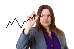 Young woman drawing a curve chart Royalty Free Stock Images