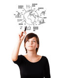 Young woman drawing globe with diagrams isolated on white Royalty Free Stock Photography