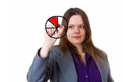 Young woman drawing a pie chart Royalty Free Stock Photography