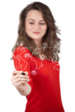 Young woman drawing a social map on whiteboard Stock Photo