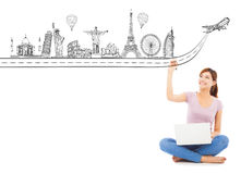 Young woman drawing a travel trip landmark Royalty Free Stock Images
