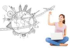 Young woman drawing a travel trip planning. With white background royalty free stock photos