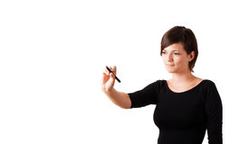 Young woman drawing on wihteboard Stock Images