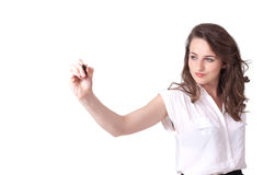 Young woman drawing on wihteboard Royalty Free Stock Photos