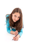 Young woman draws a pencil Stock Photo
