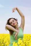 Young woman dreaming and dancing. Portrait of a beautiful girl dreaming and dancing Royalty Free Stock Photos