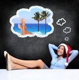Young woman dreaming about holidays Stock Photos