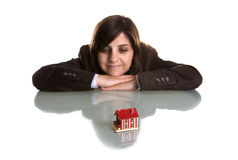Young woman dreaming with new house. Real state concept Royalty Free Stock Photo