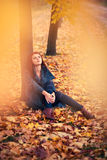 Young woman dreaming. Under tree Royalty Free Stock Photo