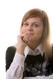Young woman, dreams about something. Business dressed. Isolated royalty free stock photos