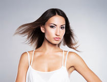 A young woman in a dress and beautiful makeup Stock Photos