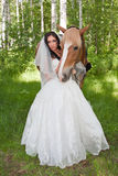 Young woman in the dress of fiancee next to a horse Royalty Free Stock Photos