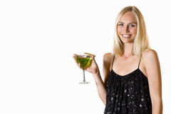 Young woman in dress holding cocktail, cut out Stock Photography
