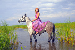 Young woman in a dress on a horse Stock Image