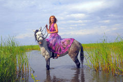 Young woman in a dress on a horse Stock Photography