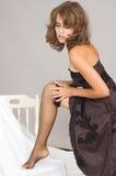 Young woman dress mesh stockings Stock Photos