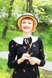 Young woman in dress retro style. Happy, smiling carefree young woman in a dress retro style, dancing swing, solo jazz and lindy hop. Pin-up girl in a hat and Stock Photos