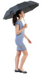 Young woman in dress walking under an umbrella. Stock Photography