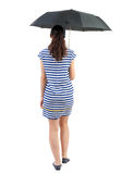 Young woman in dress walking under an umbrella. Stock Images