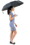 Young woman in dress walking under an umbrella. Royalty Free Stock Images