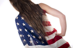 Young woman dressed with an American flag Stock Images