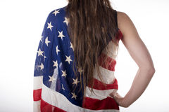 Young woman dressed with an American flag Stock Photo